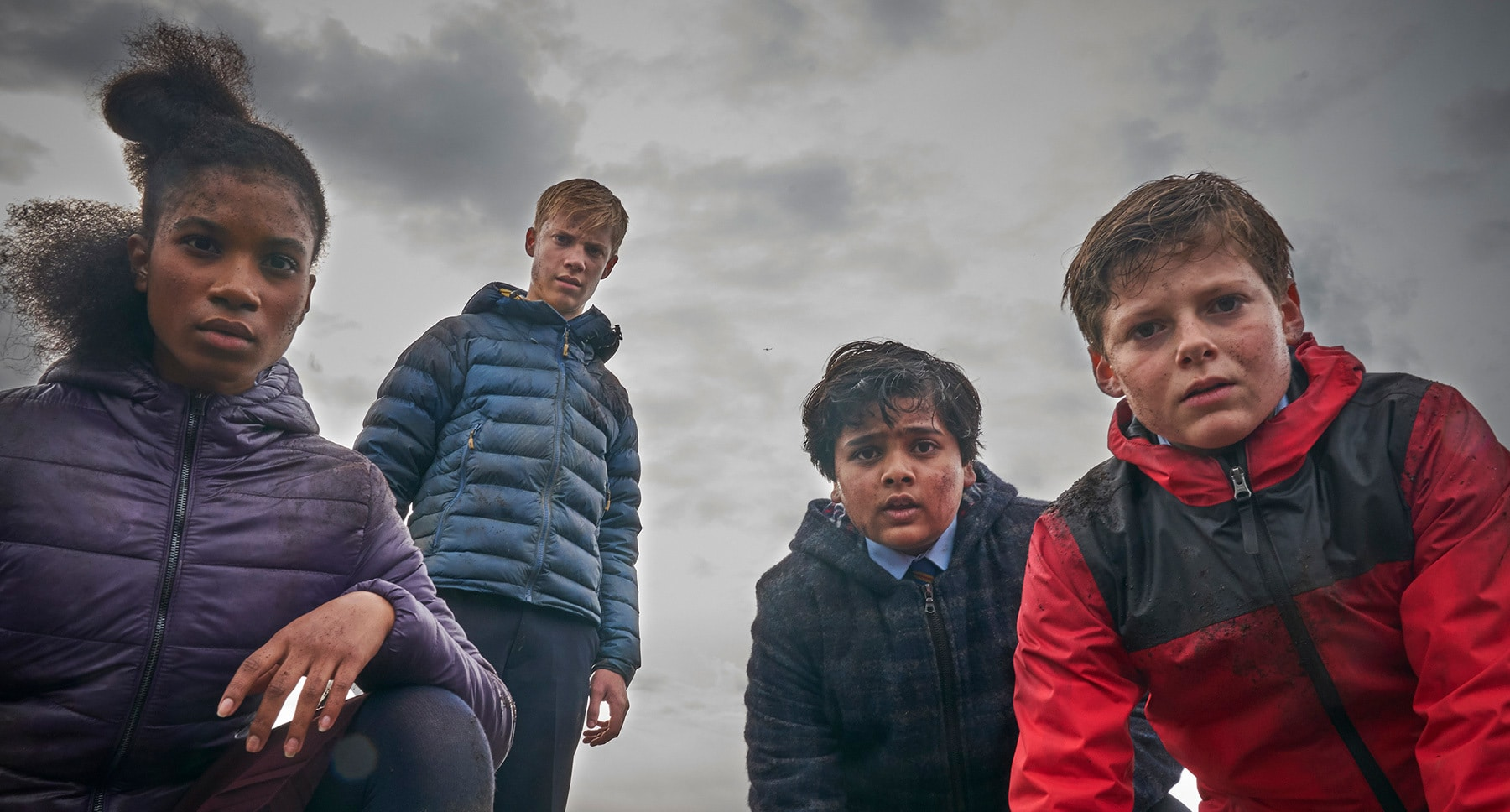 "Kaye (Rhianna Dorris), Lance (Tom Taylor), Bedders (Dean Chaumoo) and Alex (Louis Ashbourne Serkis) in the movie ""The Kid Who Would Be King"""