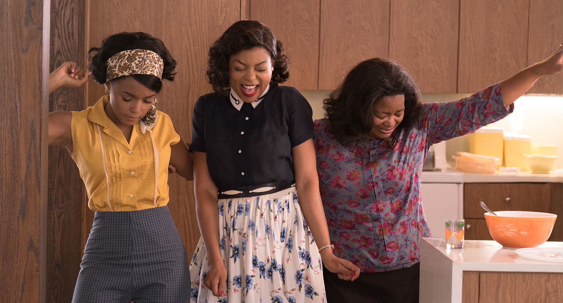"Actors Taraji P. Henson, Octavia Spencer, and Janelle Monáe from the movie ""Hidden Figures"""