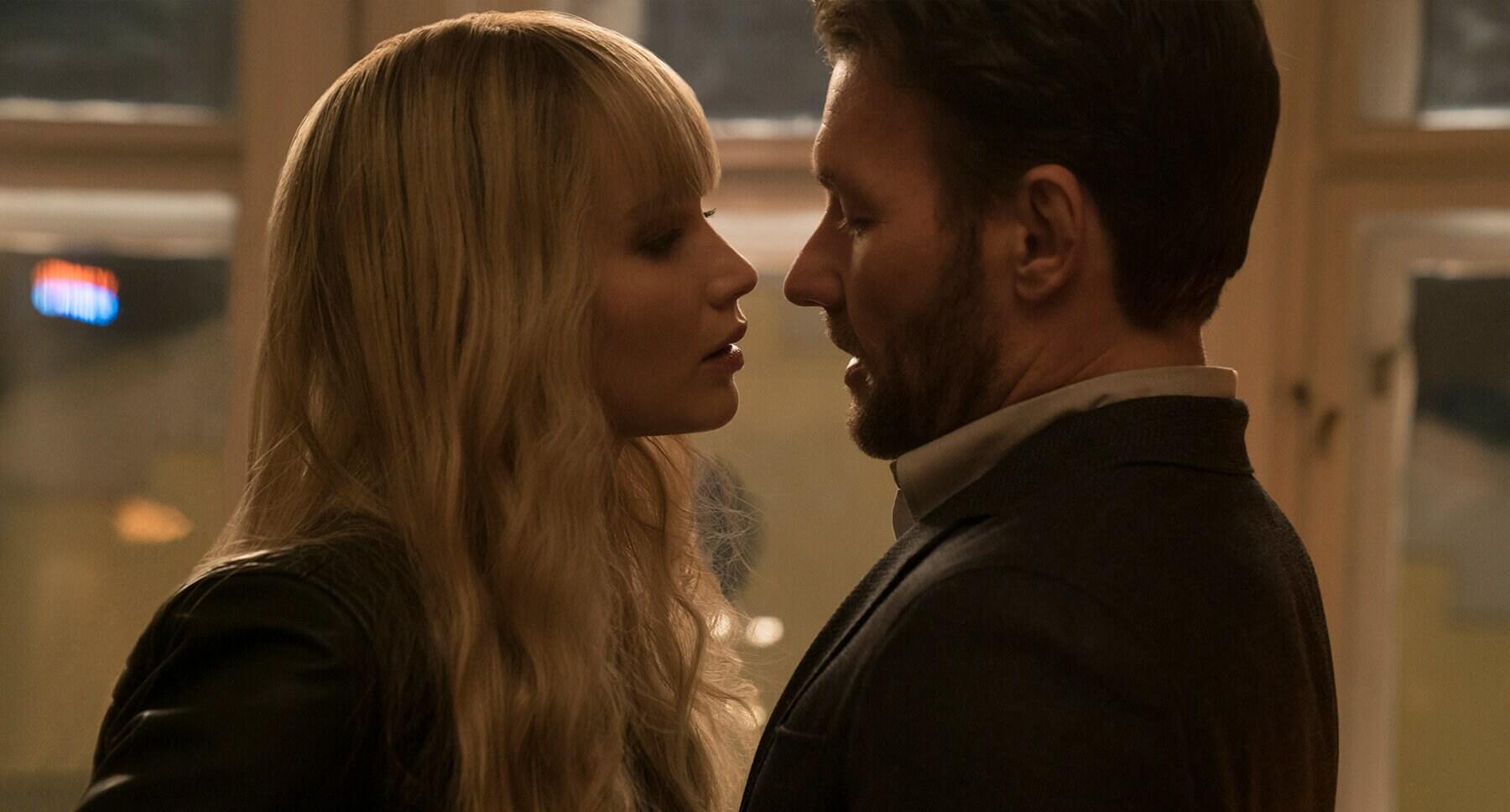 "Joel Edgerton (as Nate Nash) and Jennifer Lawrence (as Dominika Egorova) in ""Red Sparrow"""