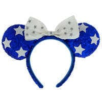 Image of Minnie Mouse Ears Headband - Blue and White # 1