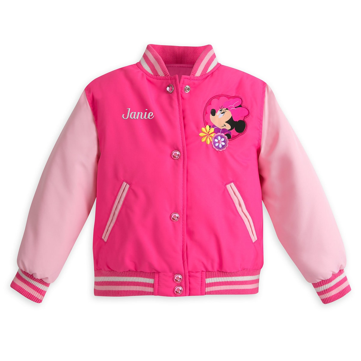 Minnie Mouse Varsity Jacket for Girls - Pink - Personalizable