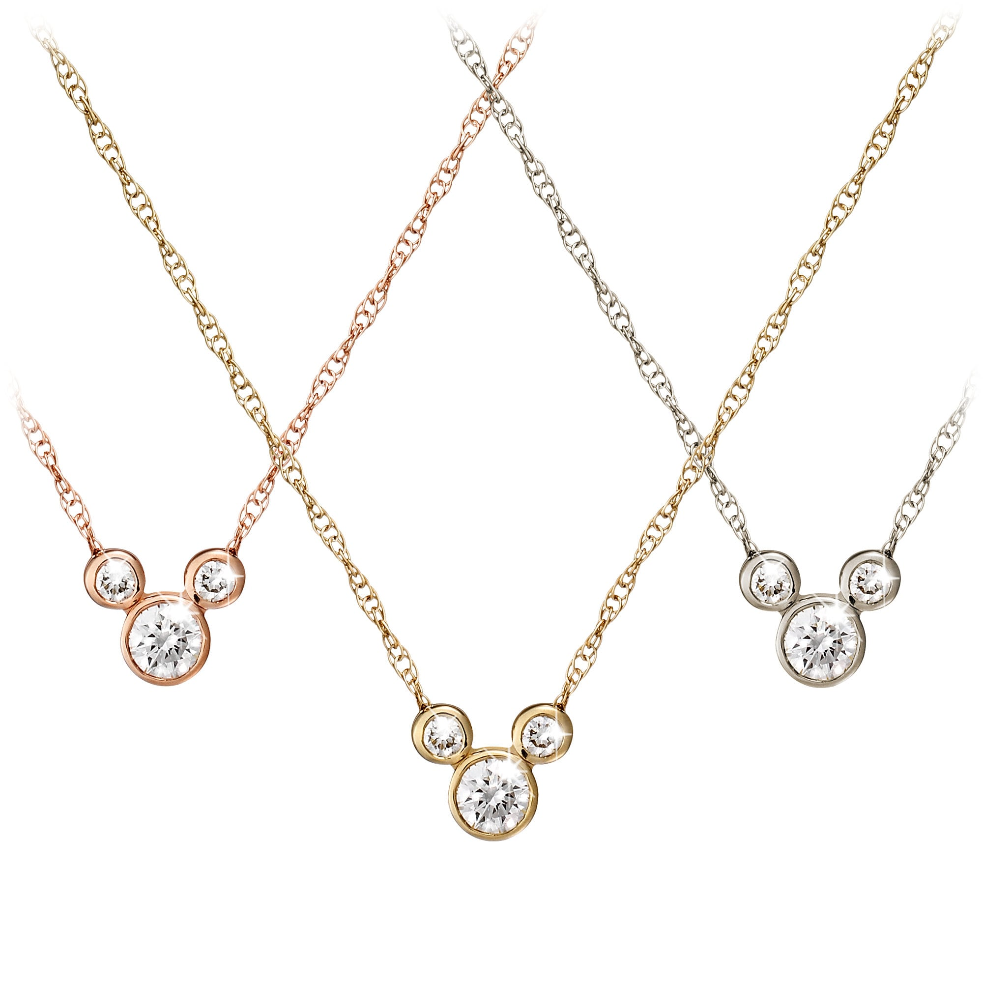 05190628ed8c2 Mickey Mouse Diamond Necklace - 18K Gold - Small