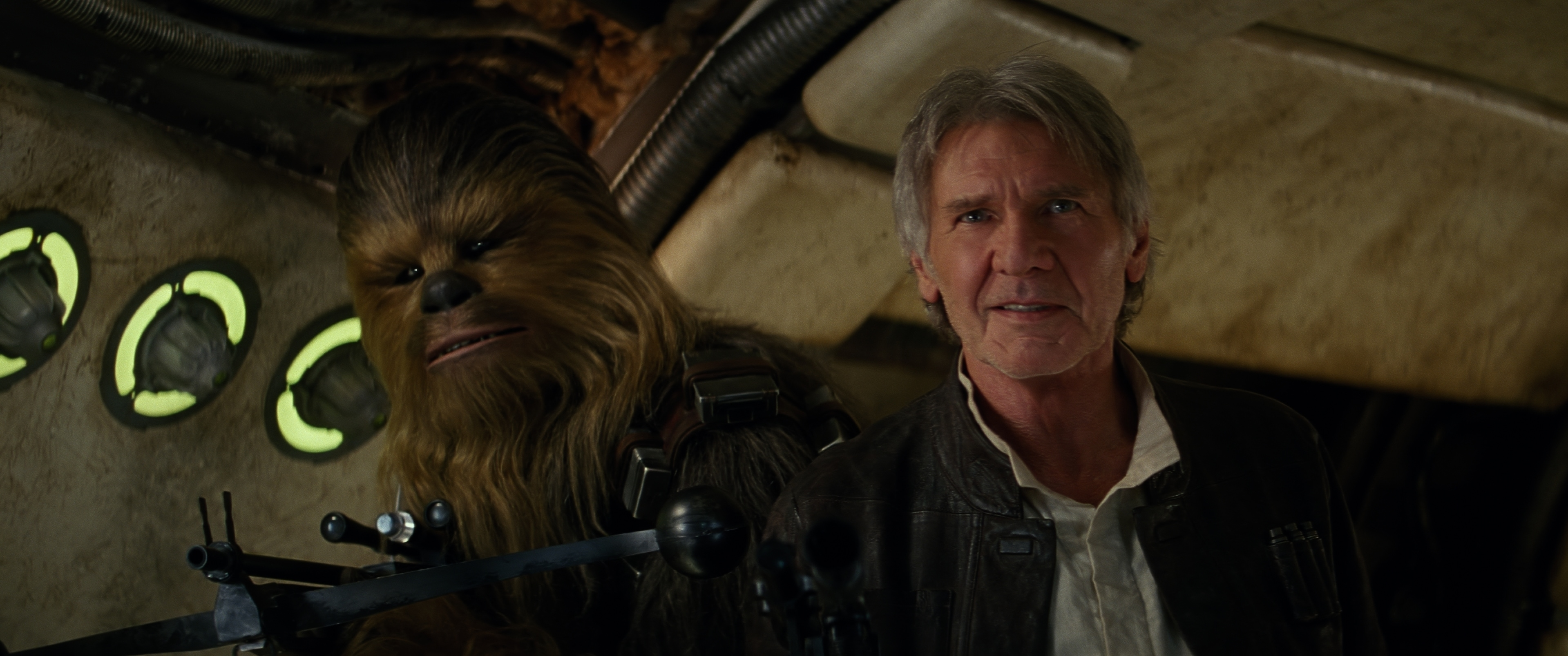 Joonas Suotamo as Chewbacca and Harrison Ford as Han Solo on the Millennium Falcon