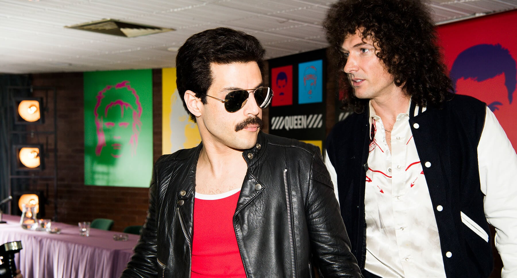 "ActorActors Rami Malek (as Freddie Mercury) and Gwilym Lee (as Brian May) in the movie ""Bohemian Rhapsody"""