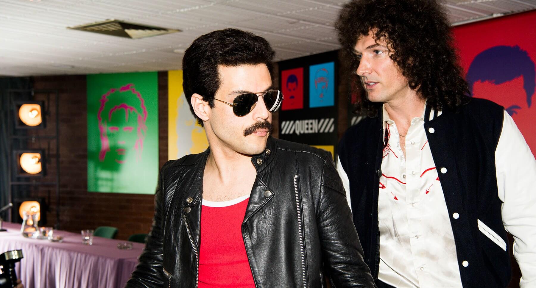 """ActorActors Rami Malek (as Freddie Mercury) and Gwilym Lee (as Brian May) in the movie """"Bohemian Rhapsody"""""""