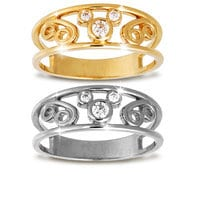 Mickey Mouse Icon Diamond Swirl Ring for Women