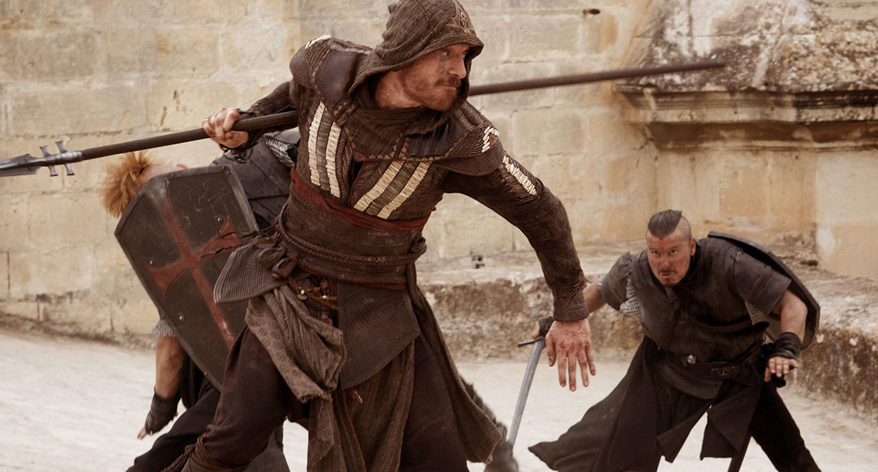 "Actor Michael Fassbender (as Aguilar) fighting with a spear in the movie ""Assassin's Creed"""