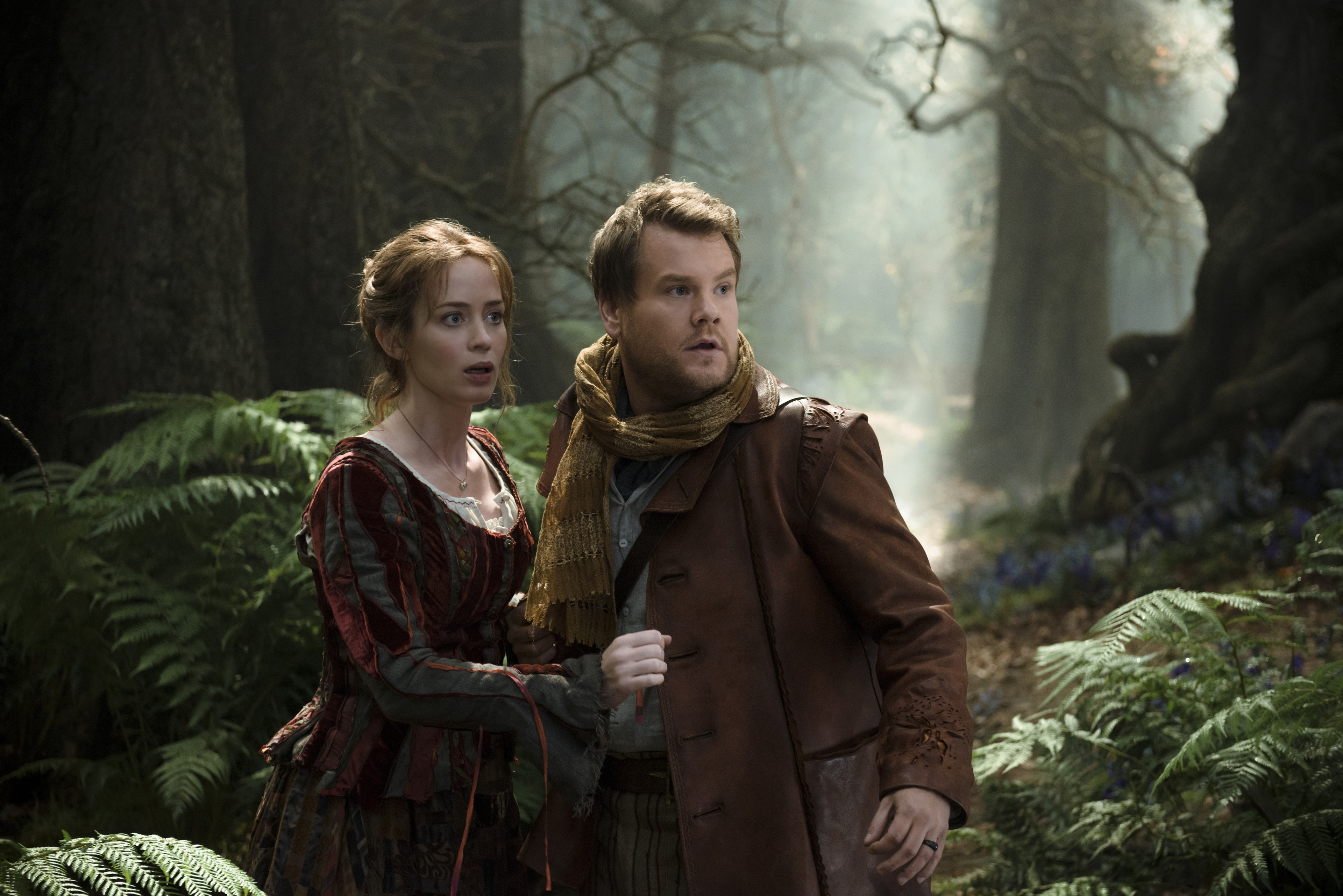 """Emily Blunt and James Corden star as a baker and his wife who wish to start a family in """"Into the Woods"""""""