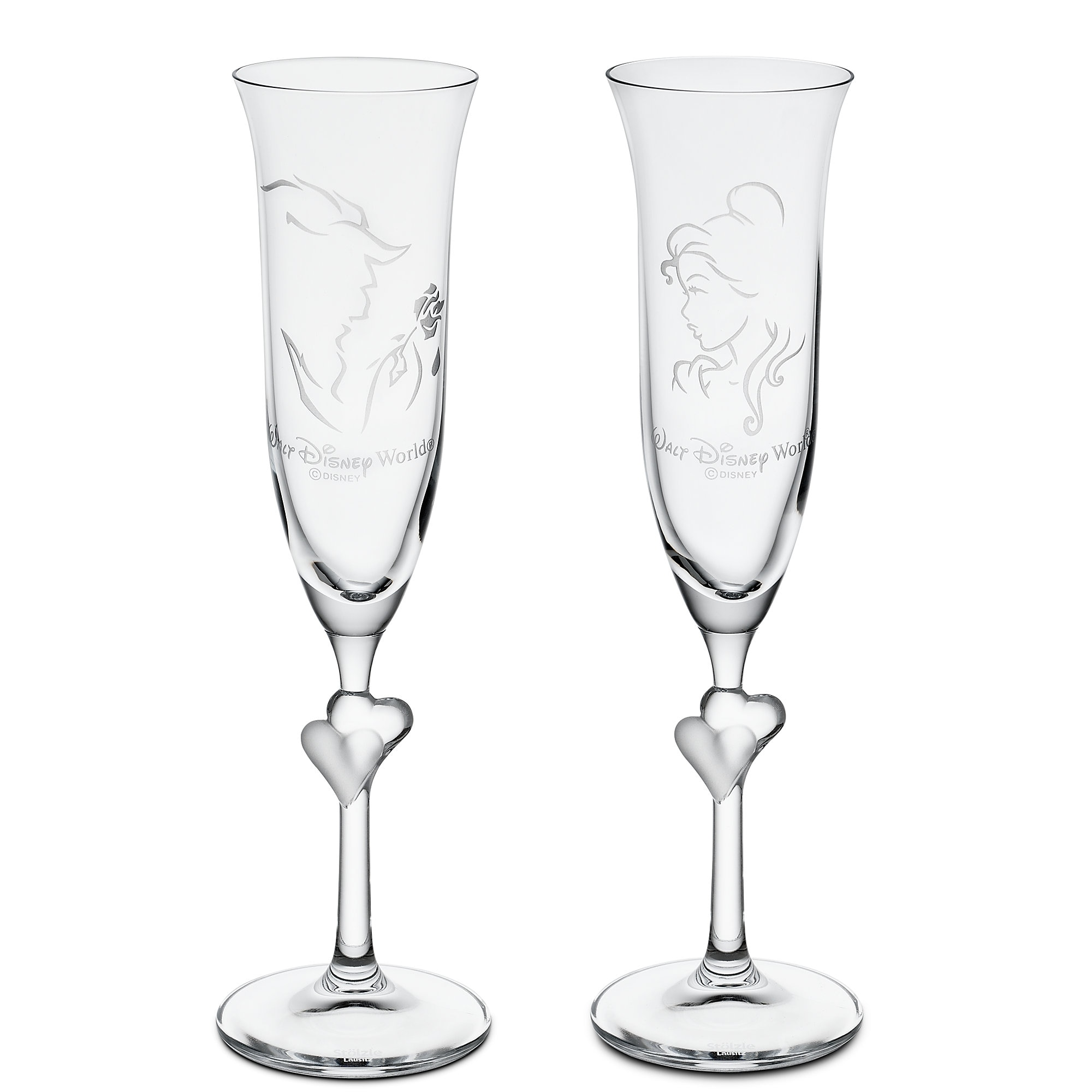 Beauty and the Beast Glass Flute Set by Arribas - Personalizable