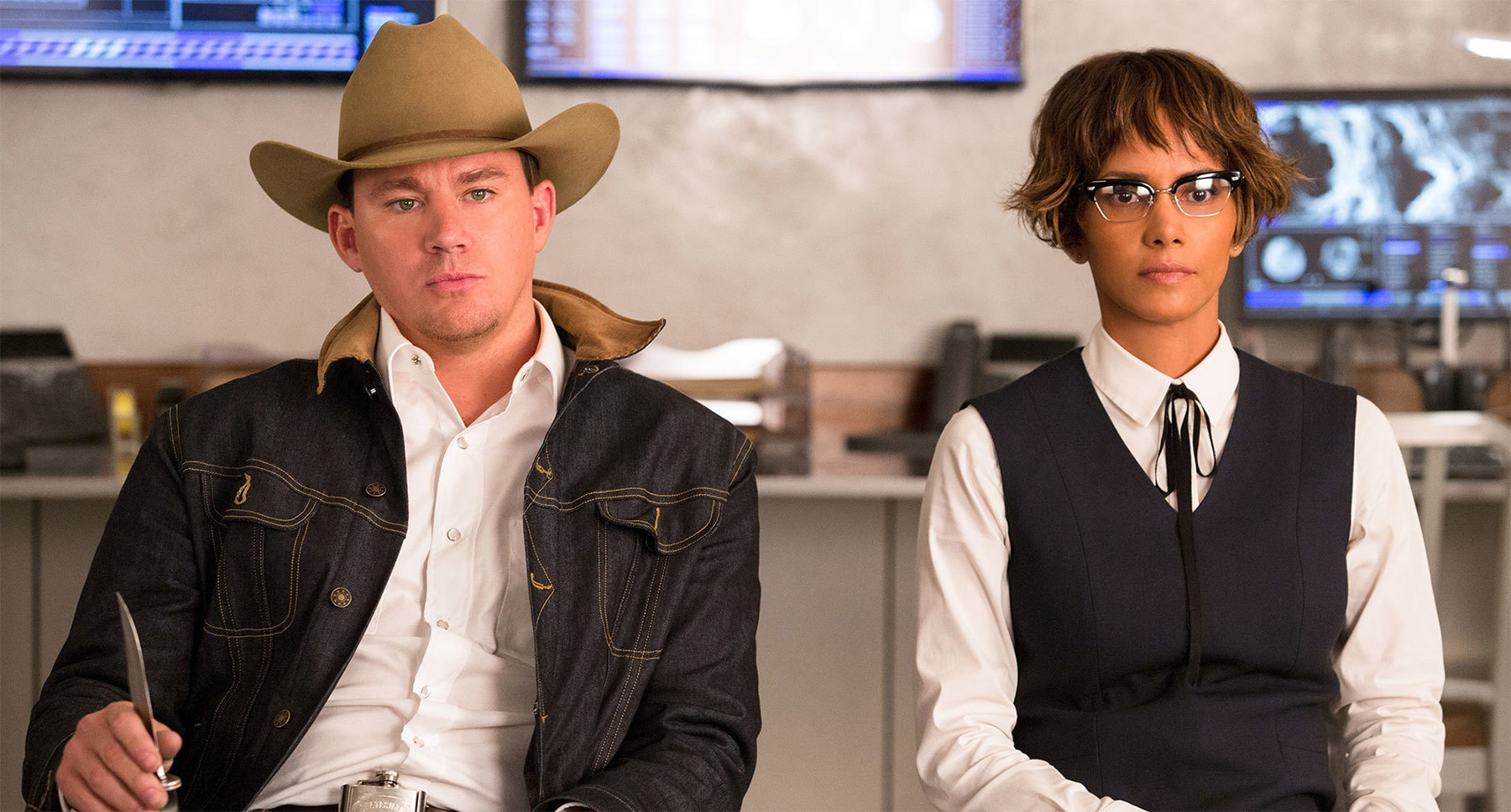 "Halle Berry (as Ginger) and Channing Tatum (as Tequila) in ""Kingsman: The Golden Circle"""