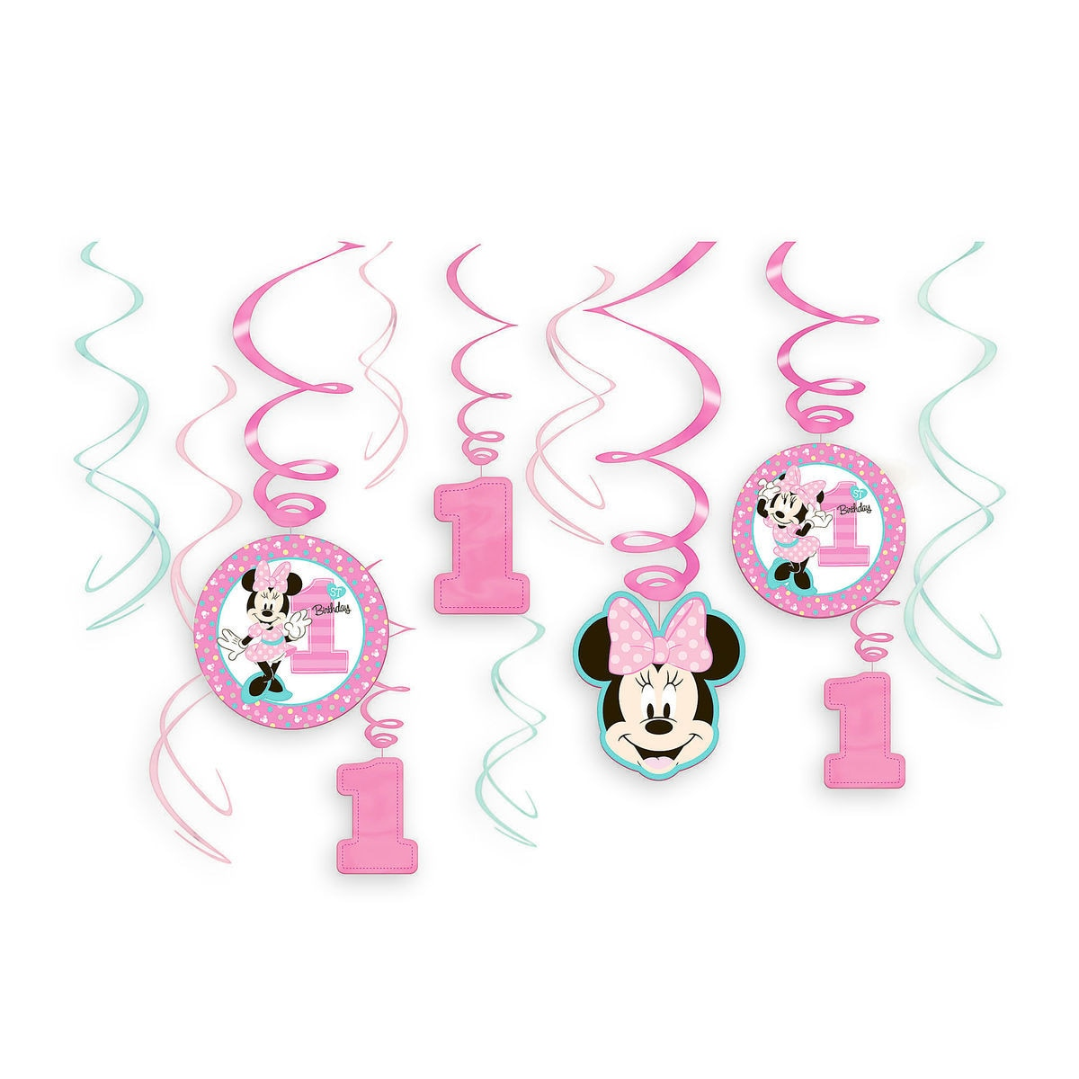 Product Image Of Minnie Mouse 1st Birthday Swirl Decorations 12 Piece Set 1