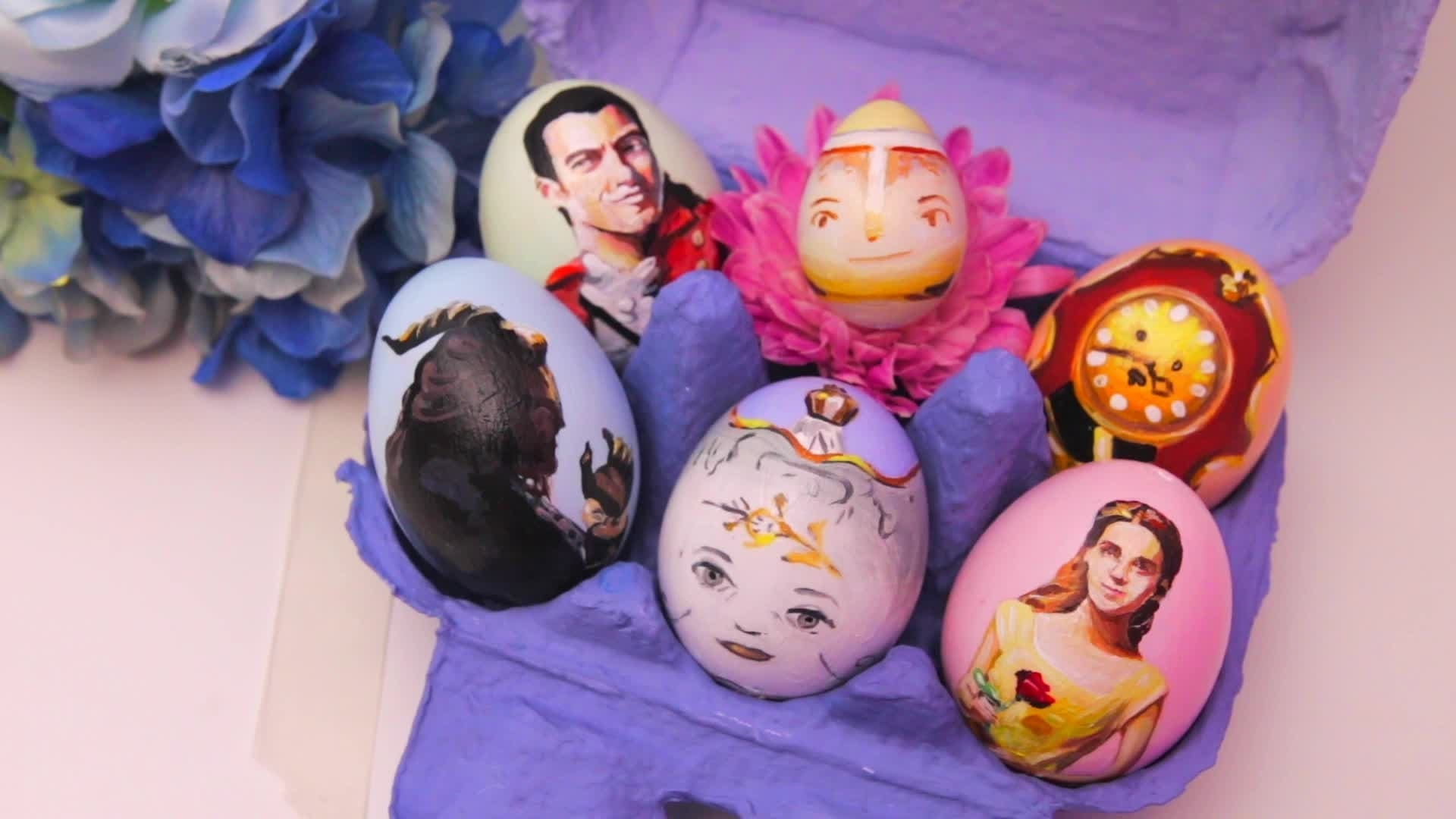 Beauty and the Beast Painted Eggs