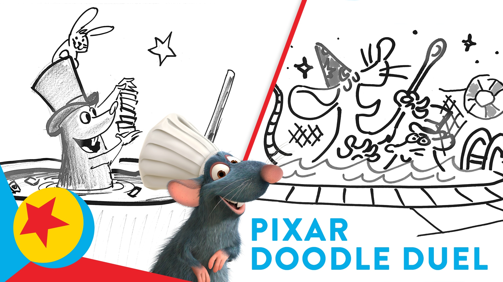 Pixar Artists Face Off to Draw Remy in the Pool Doing Magic | Pixar Doodle Duel