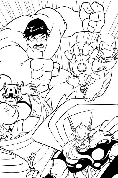 Avengers: Earth's Mightiest Heroes Coloring Page