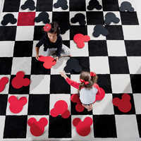 Image of Mickey Mouse Checkboard Square Rug Set by Ethan Allen # 2