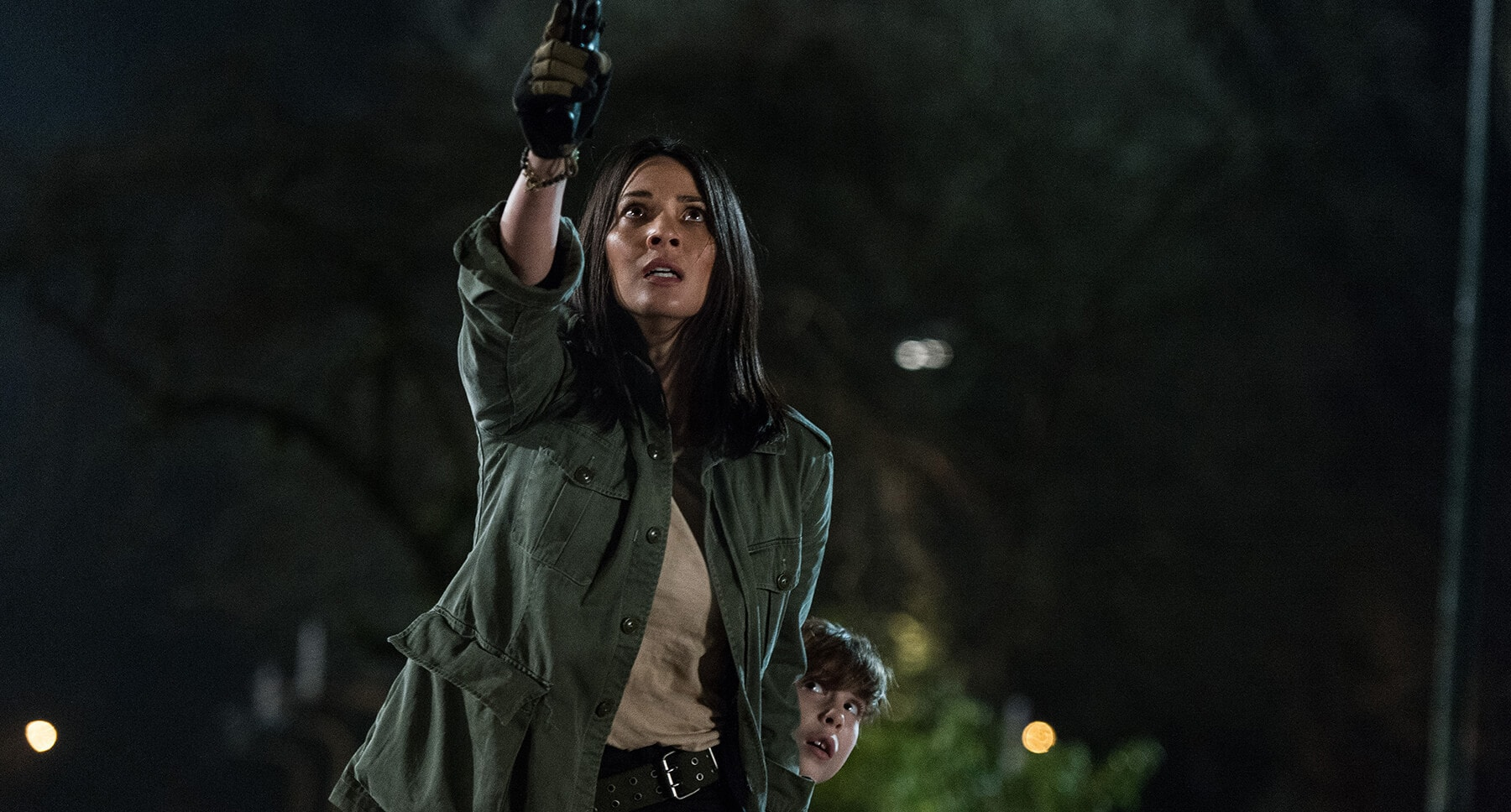 "Olivia Munn and Jacob Tremblay in ""The Predator"""