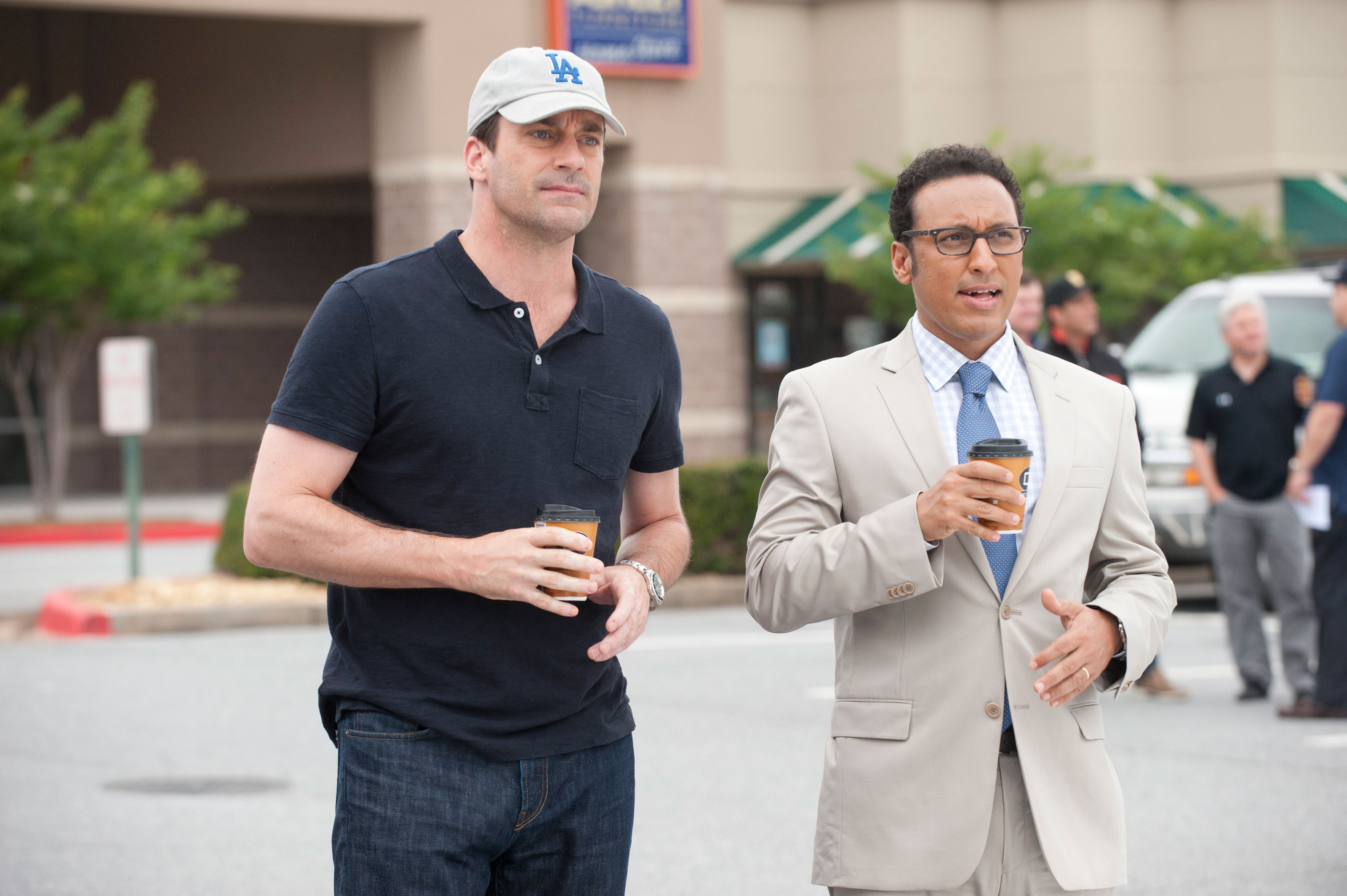 "Jon Hamm and Aasif Mandvi in ""Million Dollar Arm"""