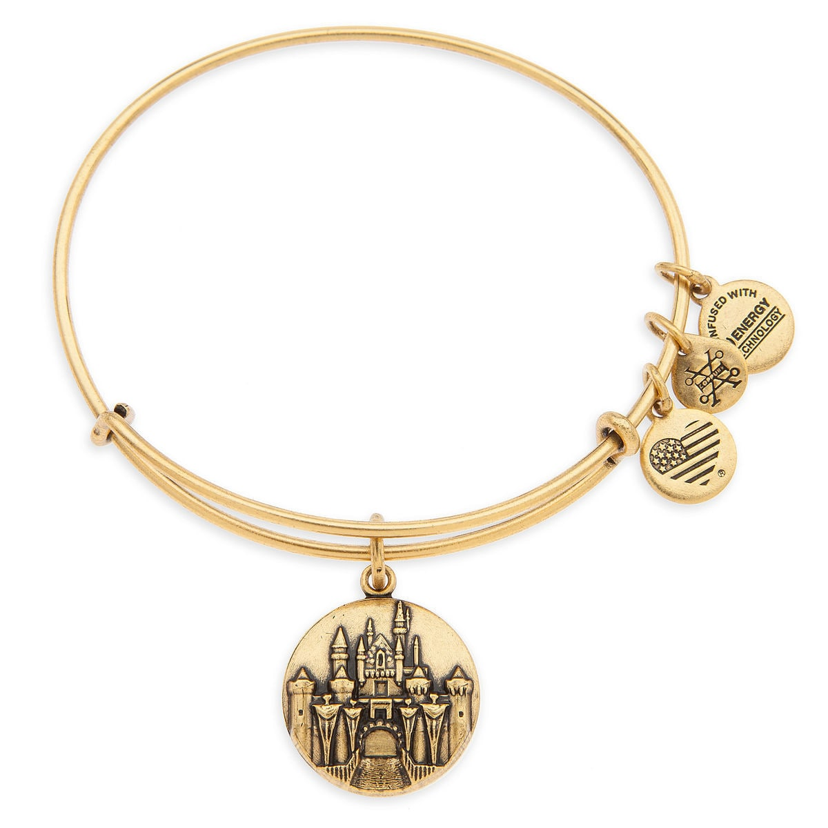 Product Image Of Sleeping Beauty Castle Bangle By Alex And Ani Disneyland Gold