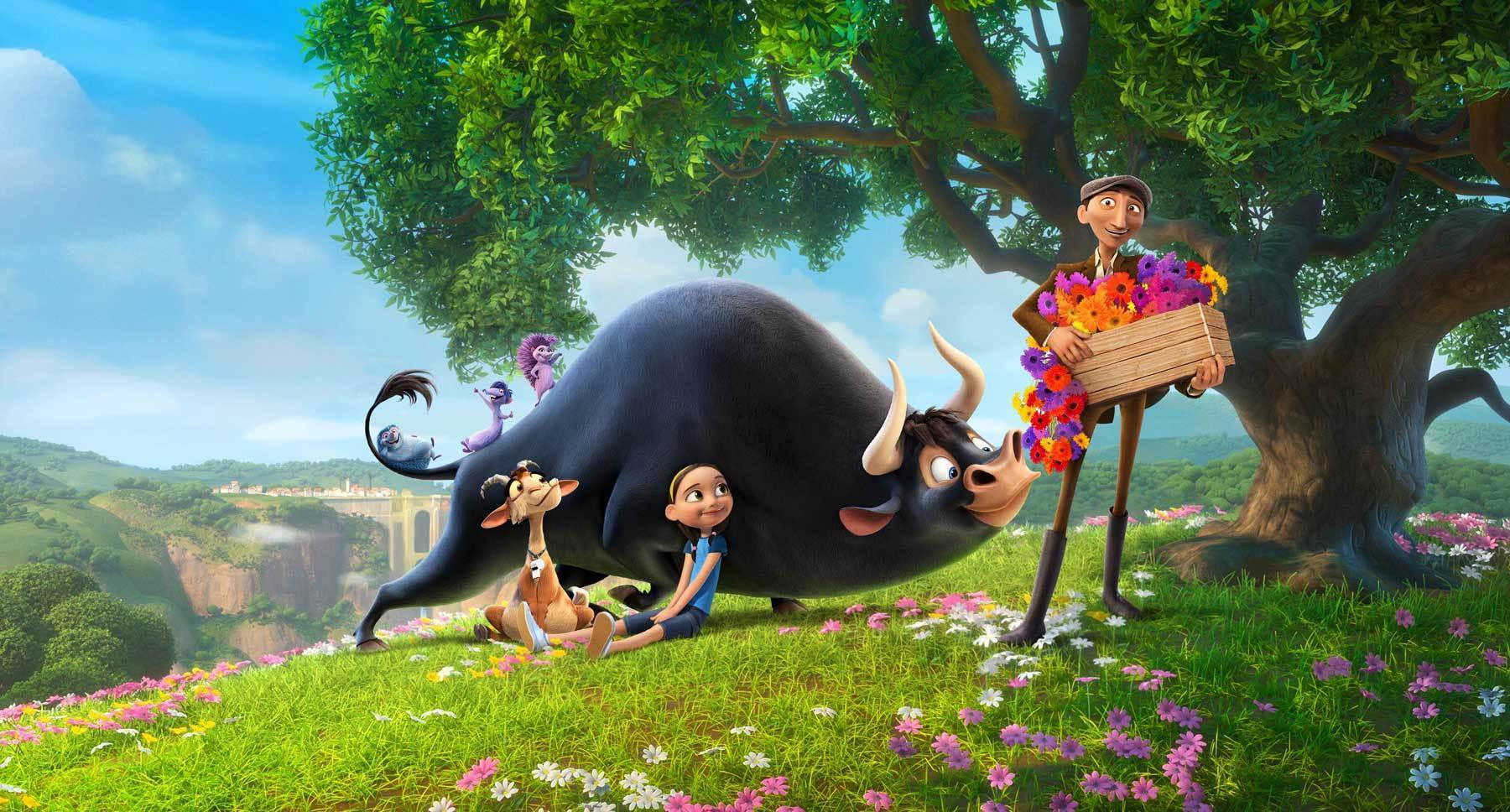 "Actors Gabriel Iglesias, Kate McKinnon, John Cena, Juanes, Gina Rodriguez, Daveed Diggs and Lily Day in the movie ""Ferdinand"""