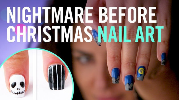 tim burtons the nightmare before christmas nail art tips by disney style - Disney Christmas Nails