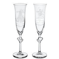 Cinderella and Prince Charming Glass Flute Set by Arribas - Personalizable
