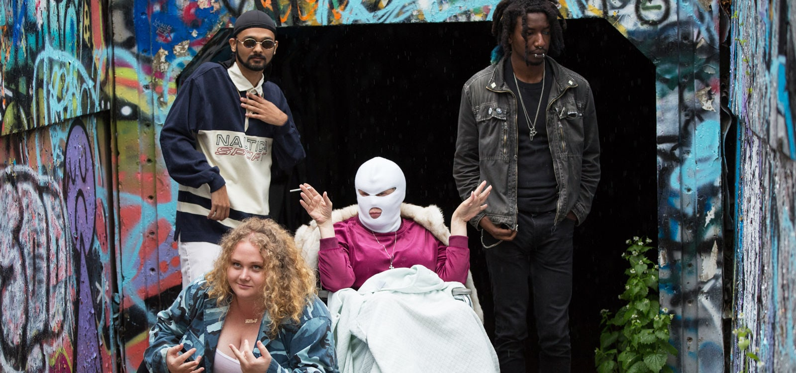 "Cathy Moriarty, Danielle Macdonald, Mamoudou Athie and Siddharth Dhananjay in the movie ""Patti Cake$"""