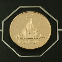 Cinderella Castle Etched Glass Panel with 24kt Gold Overlay Medallions - Walt Disney World - Limited Edition