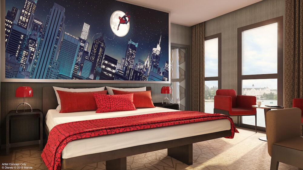 spider-man themed hotel room concept art