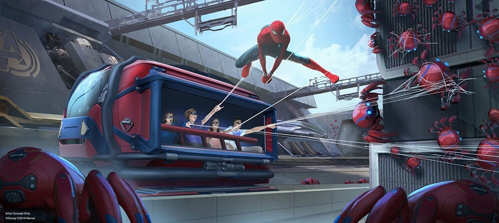 Concept Art from inside the WEB attraction, helping Spider-Man collect Spider Bots