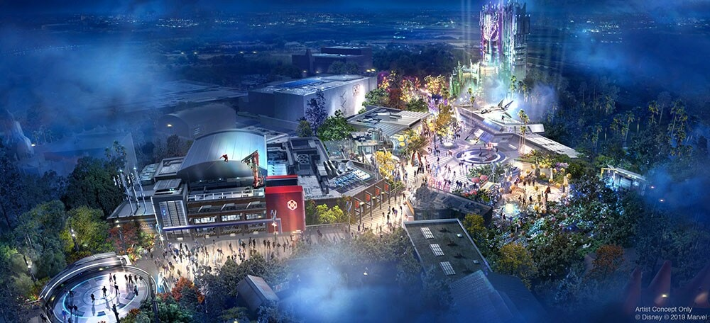 Concept Art for the Immersive Super Hero-themed land coming Disney California Adventure Park