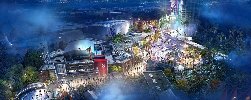 Concept art for new Super Hero-themed land at Disney California Adventure