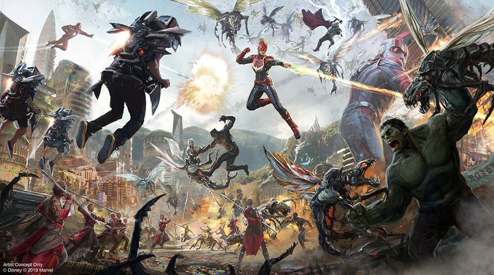 Concept Art for a phase two attraction, showcasing the Avengers in the midst of action against a powerful villain