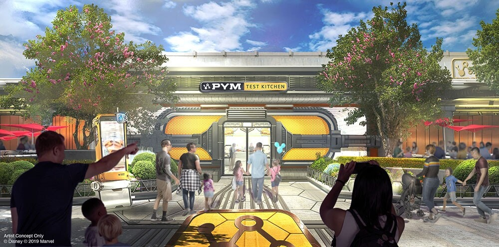 Concept Art for the Pym Test Kitchen Eatery that will be in the Super Hero-themed land