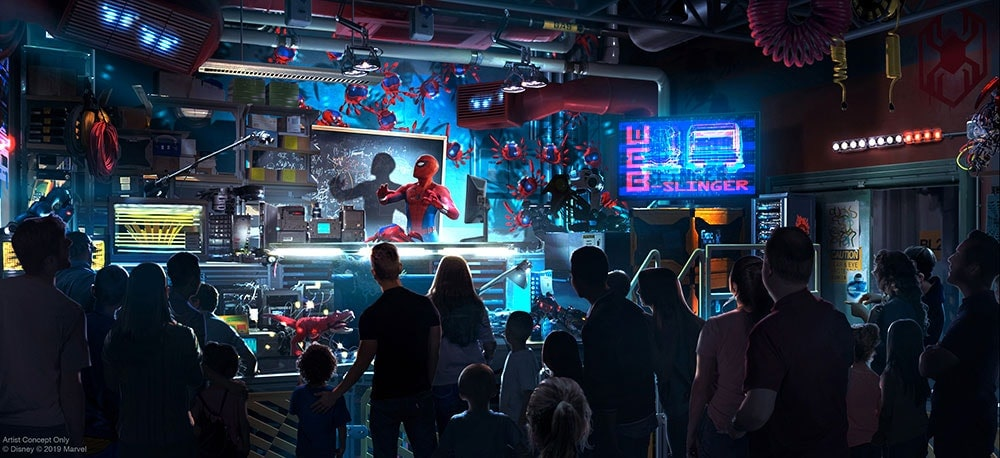 Concept Art for Worldwide Engineering Brigade, an attraction featuring Spider-Man