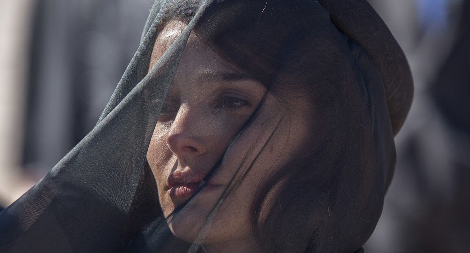 "Natalie Portman (as Jackie) wearing a black veil in ""Jackie"""