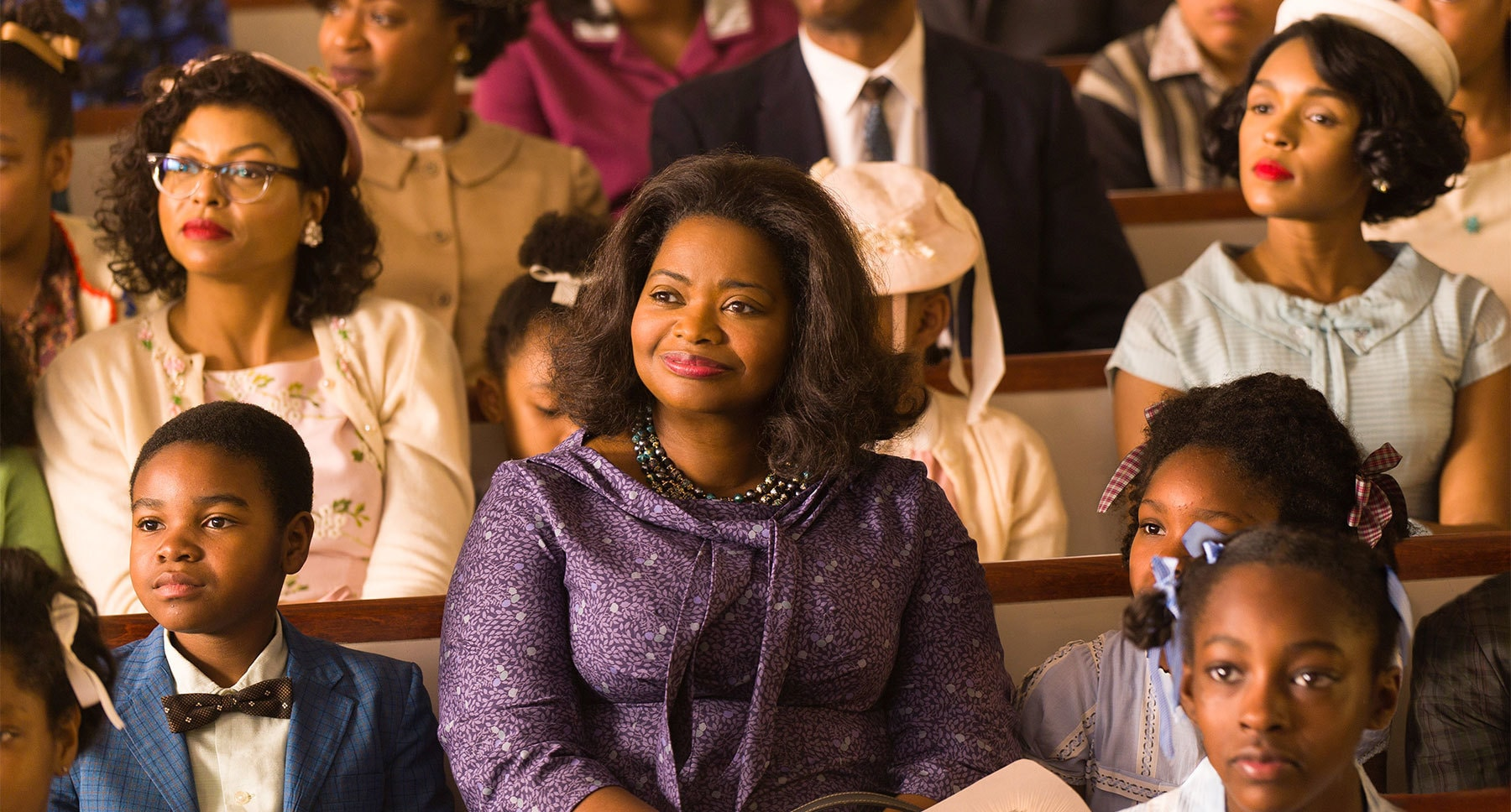 "Actors Taraji P. Henson, Octavia Spencer and Janelle Monáe sitting in church in the movie ""Hidden Figures"""