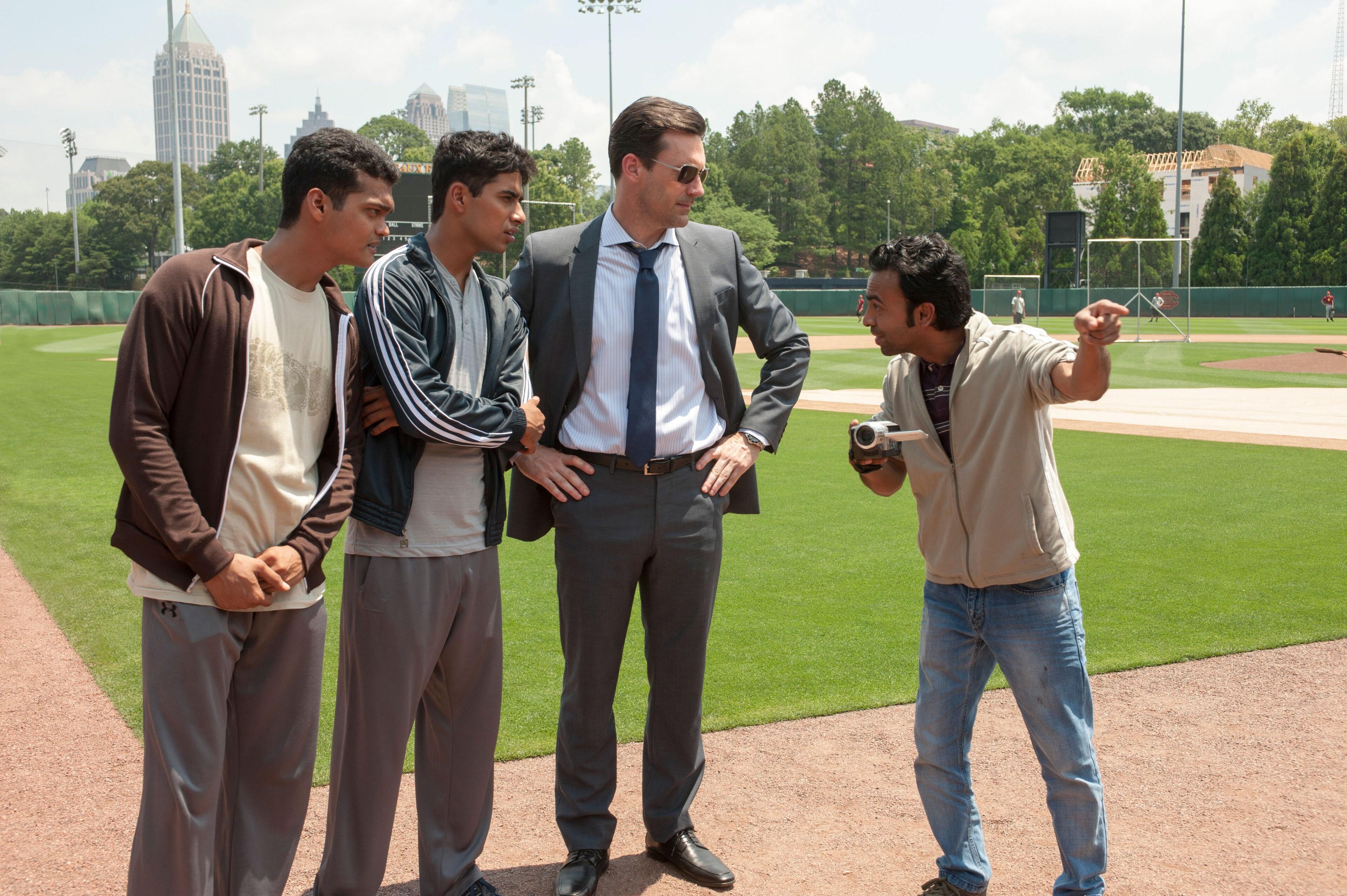 "Jon Hamm, Madhur Mittal, Pitobash, and Suraj Sharma in ""Million Dollar Arm"""