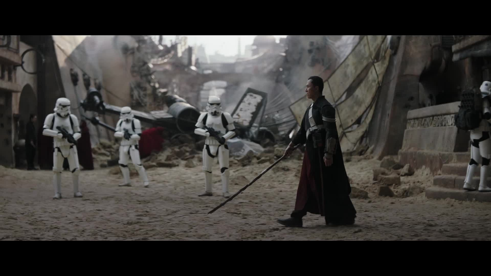 Chirrut Fights Stormtroopers