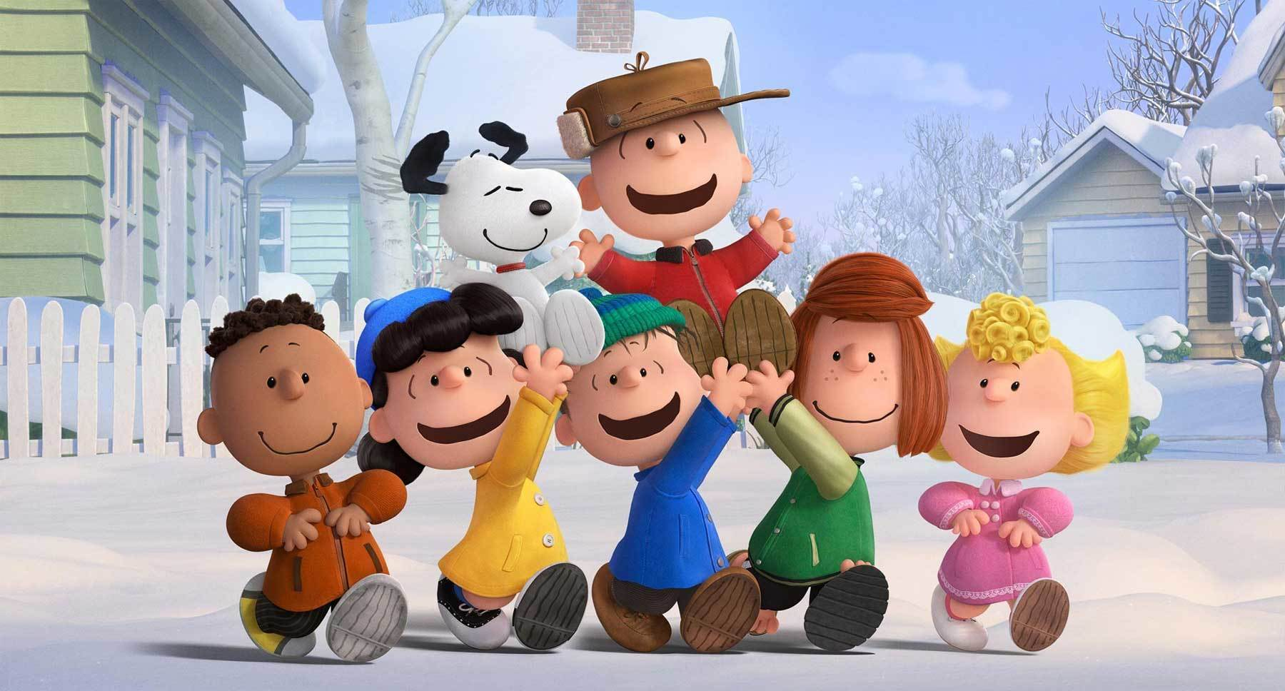 "Charlie Brown and Snoopy being lifted up by the Peanuts gang (Franklin, Lucy, Linus, Peppermint Patty and Sally) in ""The Peanuts Movie"""