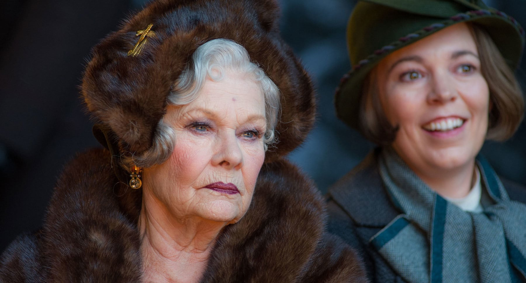 "Judi Dench (as Princess Dragomiroff) and Olivia Colman (as Hildegarde Schmidt) in ""Murder on the Orient Express"""