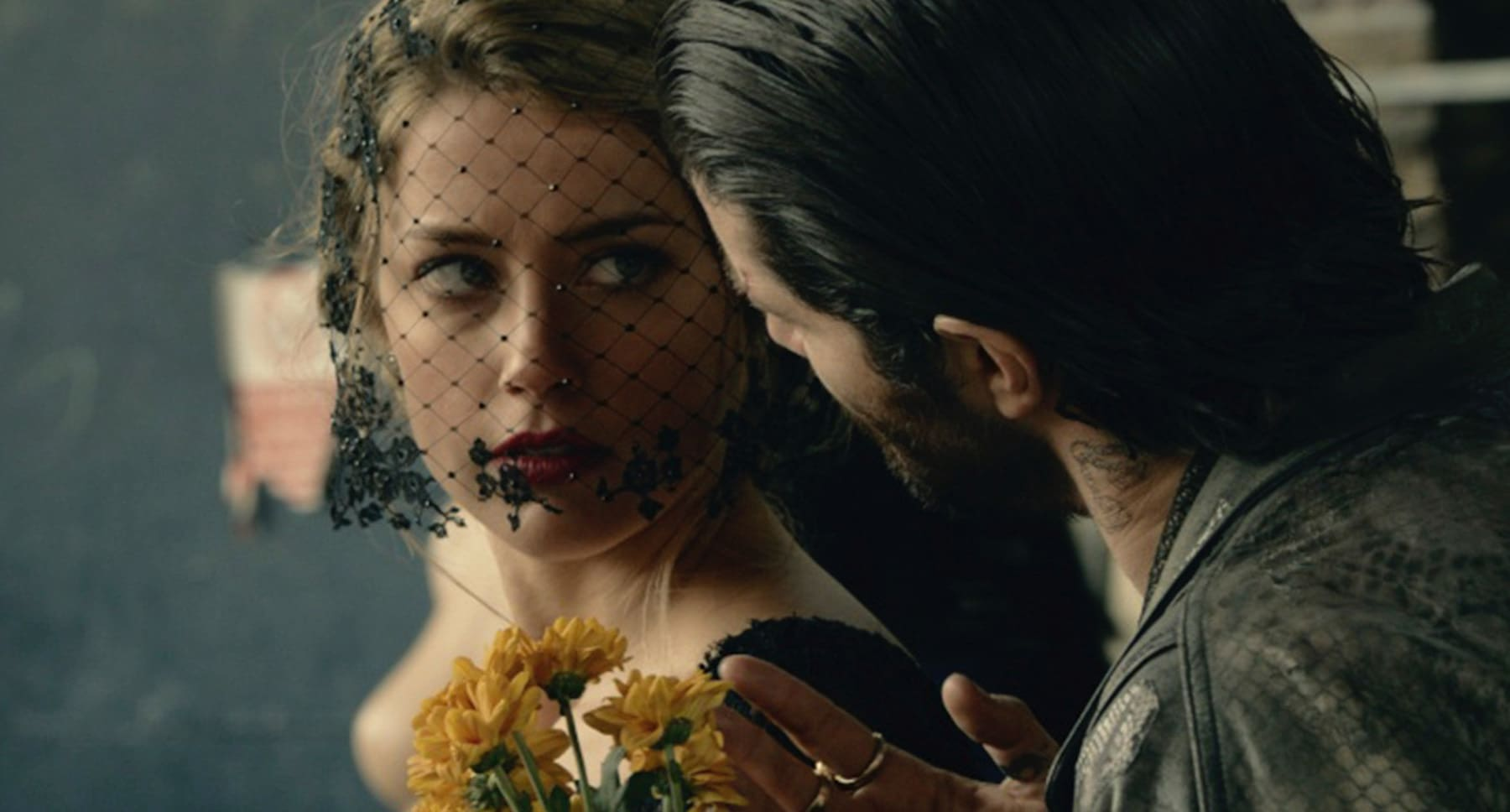 "Amber Heard (as Nicola Six), and Theo James (as Guy Clinch) in ""London Fields"""
