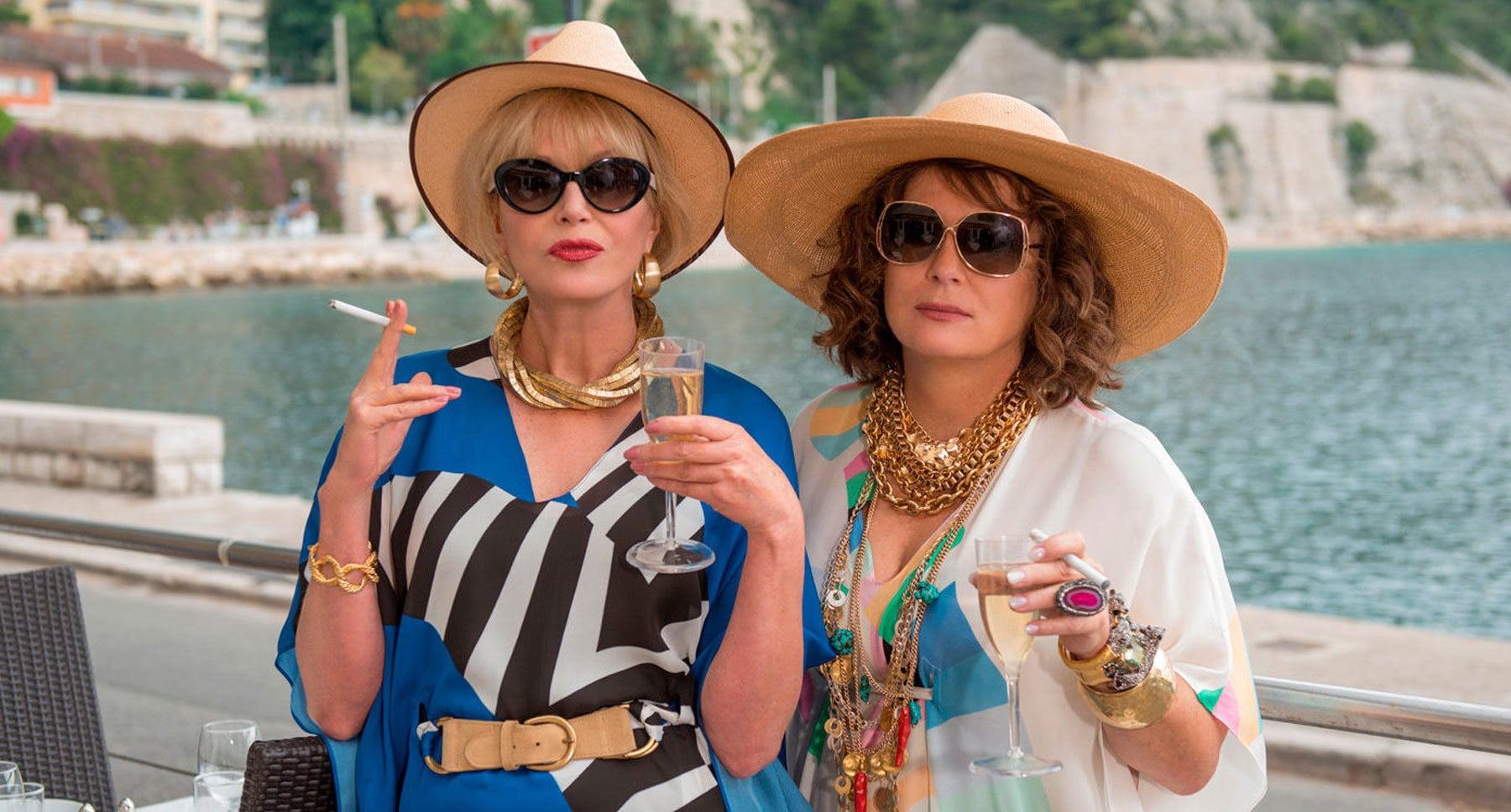 "Actors Jennifer Saunders (Edina) and Joanna Lumley (Patsy) in ""Absolutely Fabulous: The Movie"""