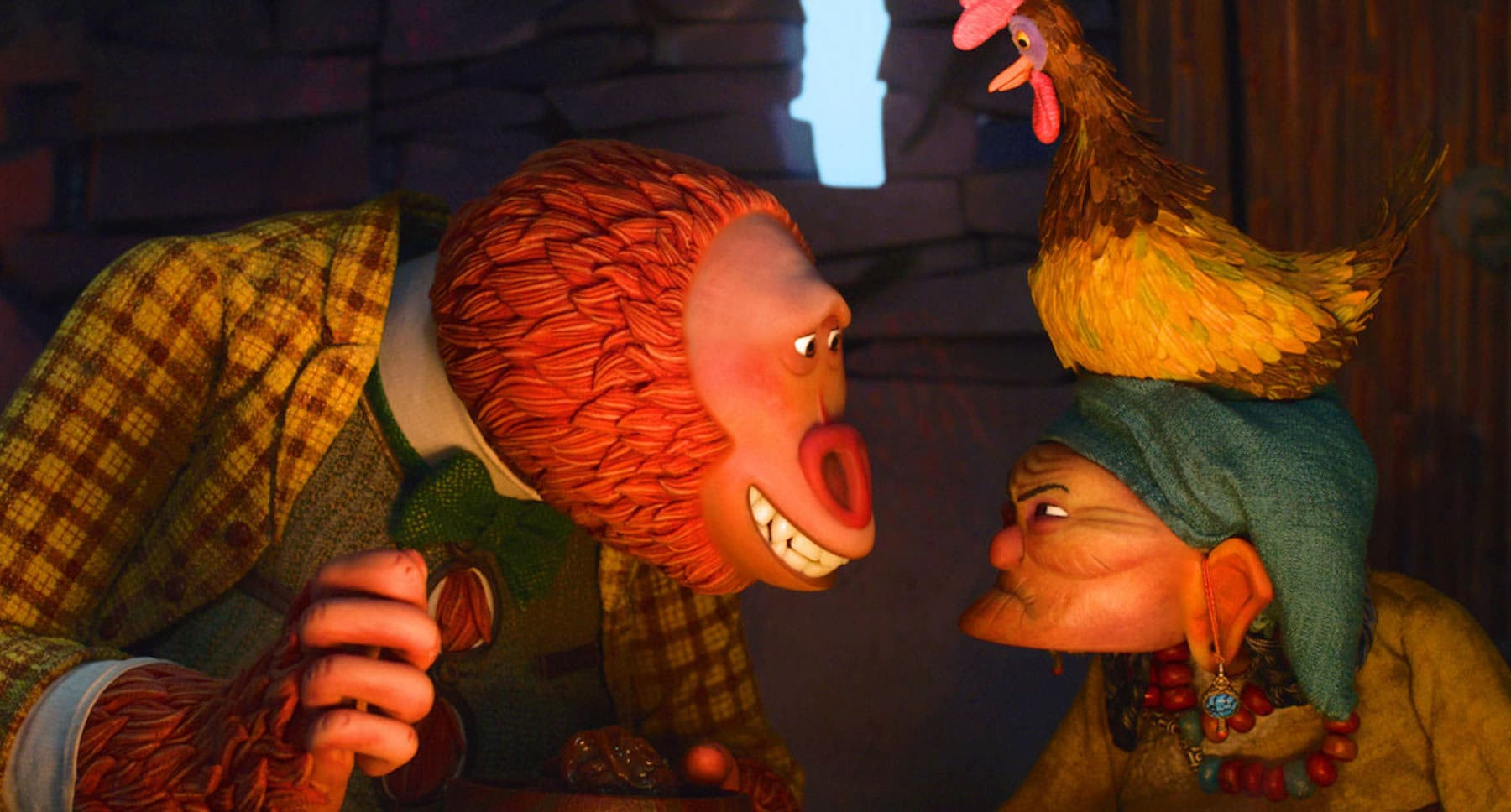 "Actor Zach Galifianakis (as Mr. Link) smiling at another character in the movie ""Missing Link"""