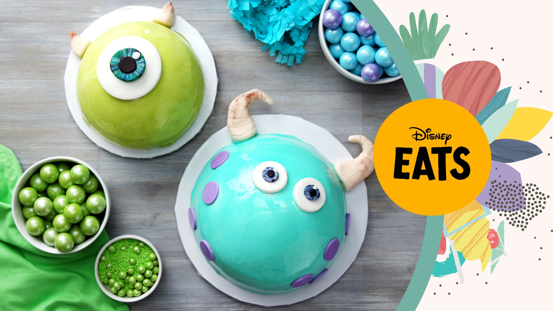 Mike and Sulley Mirror Glaze Cakes | Disney Eats