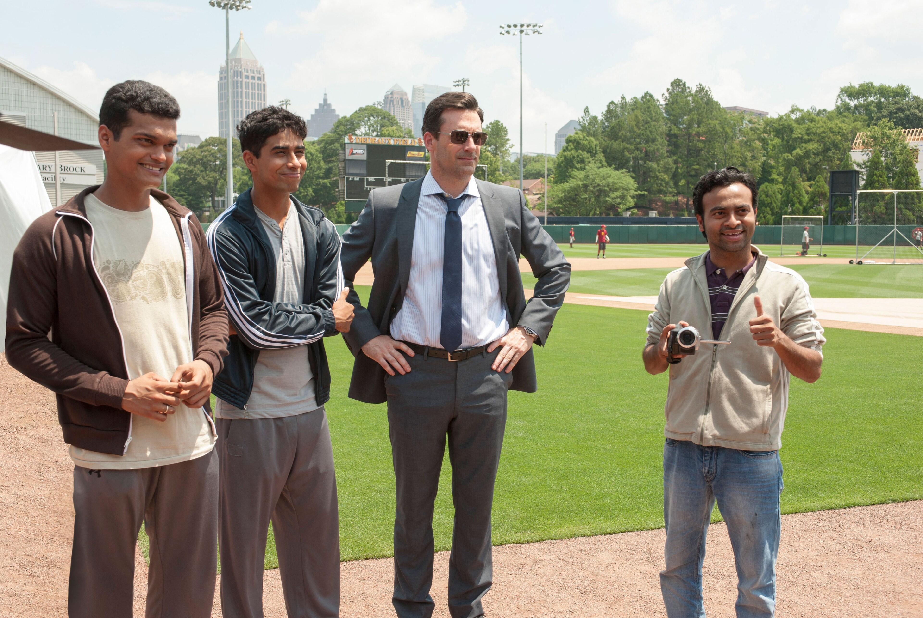 "Jon Hamm, Madhur Mittal, Pitobash, and Suraj Sharma in"" Million Dollar Arm"""