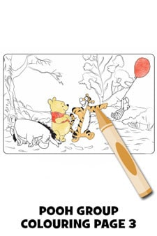 Winnie the Pooh Group Colouring Page 3