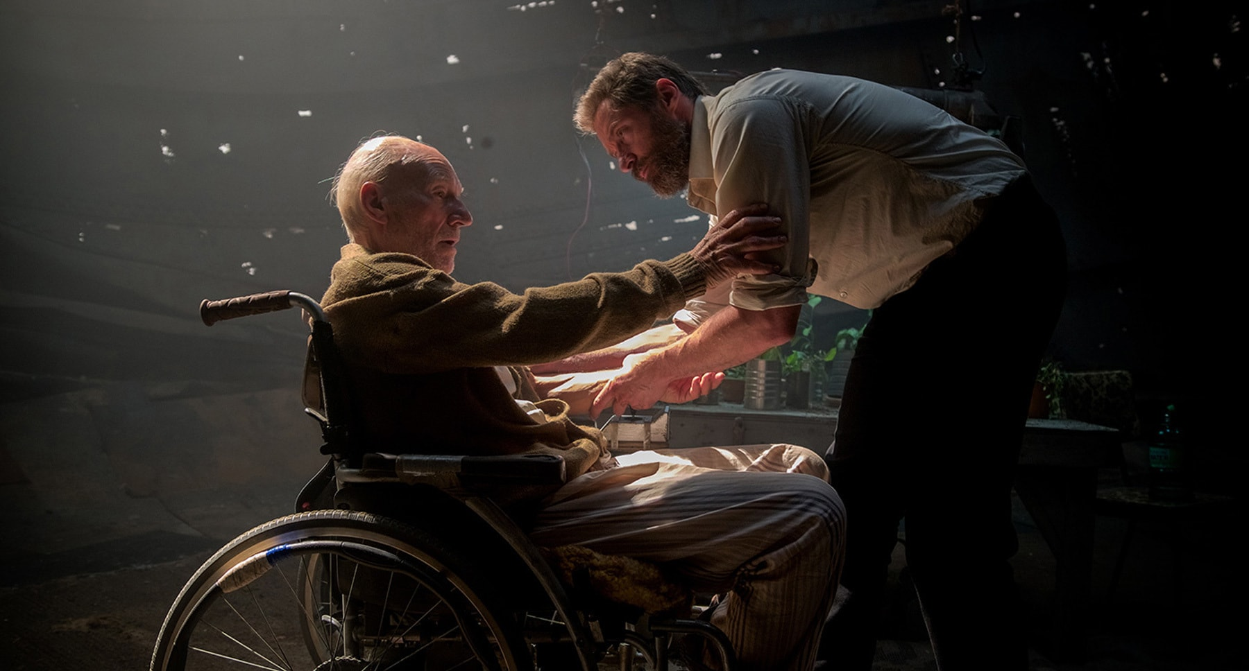 "Patrick Stewart (as Charles) and Hugh Jackman (as Logan) in ""Logan"""