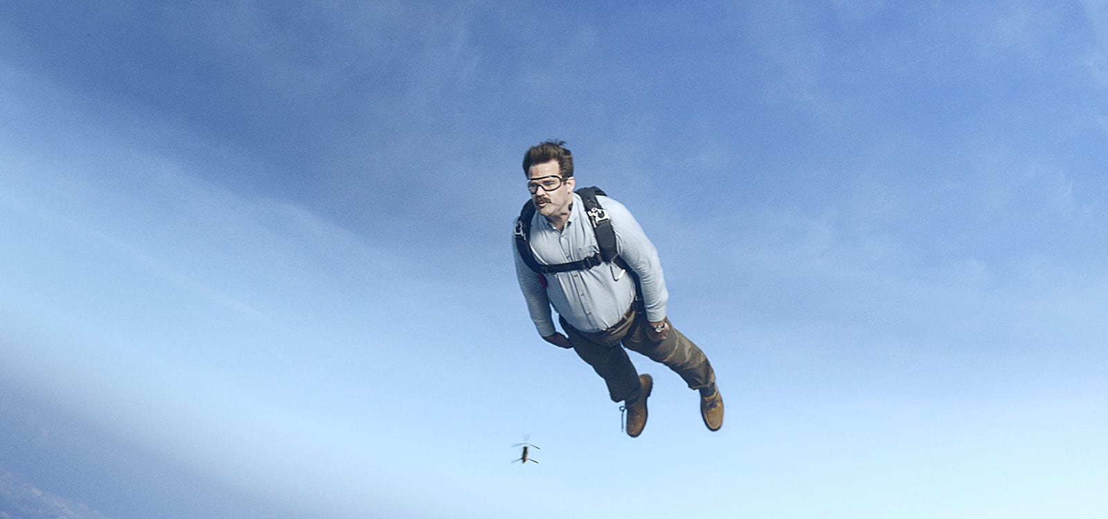 "Actor Rob Delaney (as Peter) diving from a plane in the film ""Deadpool 2"""