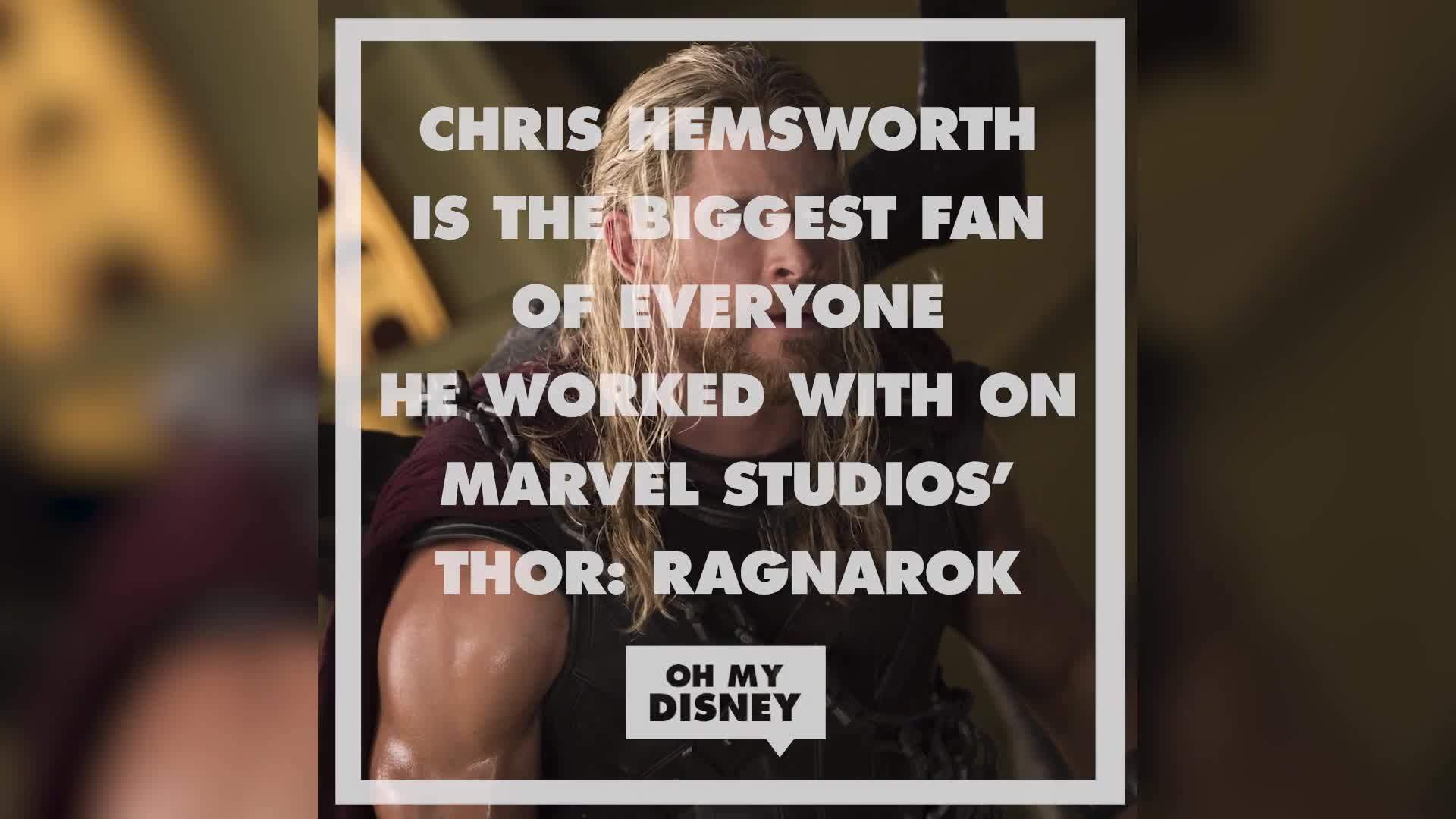 Chris Hemsworth Is the Biggest Fan of Everyone He Worked With on Thor: Ragnarok | Oh My Disney