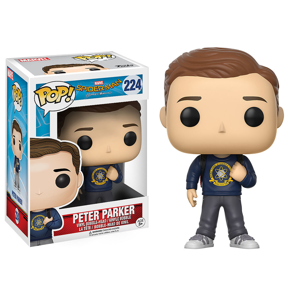 Product Image of Peter Parker Pop! Vinyl Bobble-Head Figure by Funko - Spider-Man: Homecoming # 1